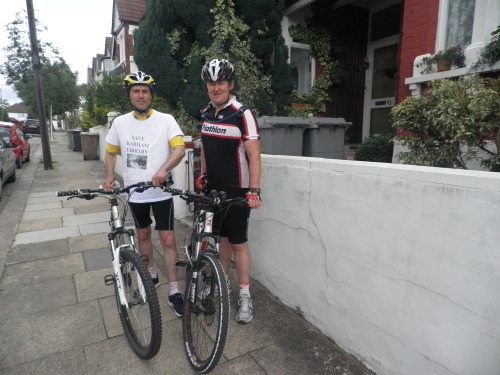 Lib Dem Councillor Paul Lorber gets into training with Ironman competitor Peter Corcoran