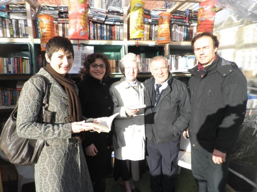 Group of Liberal Democrat campaigners outside Kensal Rise library
