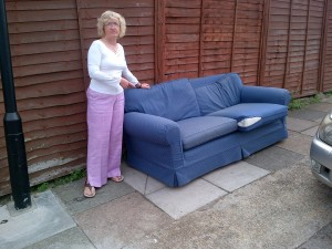 Dollis HIll Liberal Democrat councillor Alison Hopkins with dumped sofa