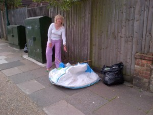 Dollis Hill councillor Alison Hopkins with dumped rubbish