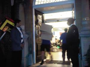 Staff remove boxes from Kensal Rise library