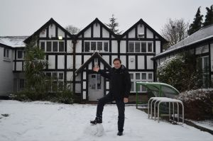 Paul Lorber in front of Barham Park library in the snow